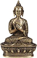 Lord Buddha Preaching the Law of Dharma (Robes Decorated with Auspicious Symbols) - Brass Statue