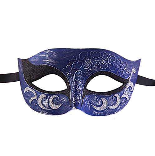 [Hagora, Unisex Magnificent Plastic Vintage Design Venetian Masquerade Mask,Antique/Blue/Silver One] (Magnificent Movie Costume)