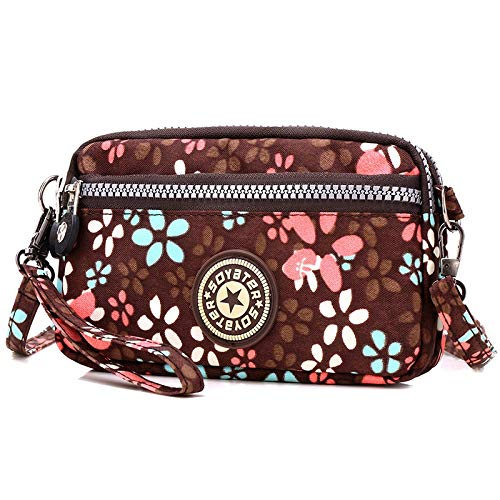 Flower In Donna Tracolla Borsa Mini Sports Da A Brown Nylon Sportiva aUUEwqv
