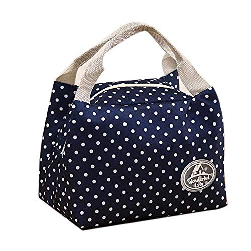 TOPIA STAR Lunch Bag Insulated Lunch Box Reusable Lunch Tote Cooler Organizer Bag Lunch Bags for Women Ladies Adults (Navy Blue) ()