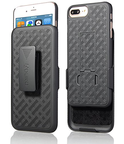 iPhone 8 Plus / 7 Plus Holster Case, Aduro COMBO Shell & Holster Case Super Slim Shell Case w/ Built-In Kickstand + Swivel Belt Clip Holster for Apple iPhone 8 Plus and iPhone 7 Plus