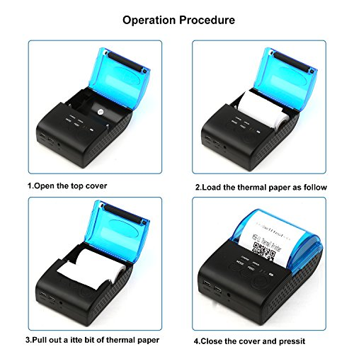 LivePow Bluetooth Thermal Printer, Portable Mini Wireless Bluetooth 58mm High Speed Direct Thermal Printer, Compatible with Android/IOS/Windows /Linux Systems  and ESC/POS Print Commands Set by PowCube (Image #4)