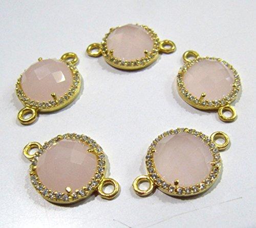 SALE-Rose Quartz Round Briolette Connectors With Pave CZ Gold Plated / Double Loop Size 13mm Faceted Gemstone Pendant / Pave Link Connectors