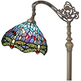 Tiffany Style Reading Floor Lamp Blue Stained Glass with Crystal Bead Dragonfly Lampshade 64 Inch Tall Antique Arched Base for Bedroom Living Room Lighting Table Set Gifts S529 WERFACTORY
