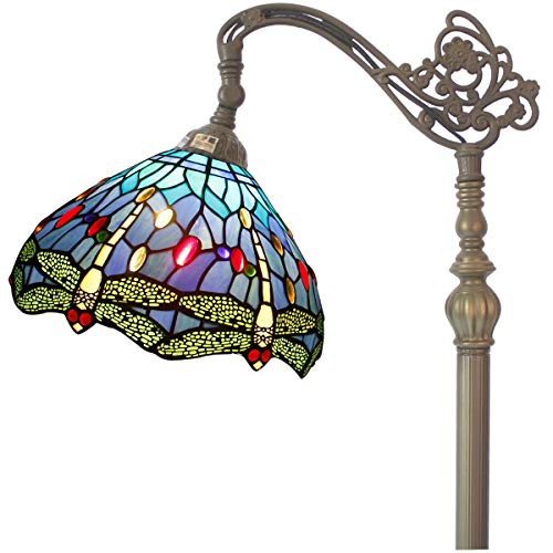 Tiffany Style Reading Floor Lamp Blue Stained Glass with Crystal Bead Dragonfly Lampshade 64 Inch Tall Antique Arched Base for Bedroom Living Room Lighting Table Set Gifts S529 WERFACTORY (Floor Lamp With Beads)