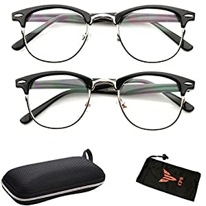 2 PAIRS Quality Fashion Designer Celebrity Sexy Cute Horn Rimmed Reading Glasses Metal Frame Black & Tortoise Color All Strengths Available