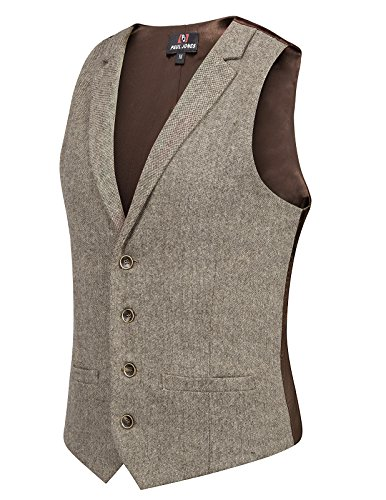 Classic Wool Vest - Mens Classic Suit Vest Slim Fit Lapel Collar 4 Button Vest Waistcoat (L, Coffee)