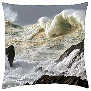 Rough Seas off the Coast of Ireland - Throw Pillow Cover Case (18