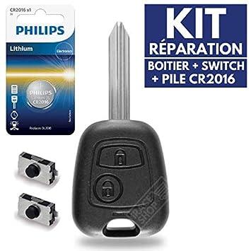 Carcasa llave caja de mando a distancia Plip Citroen Berlingo Xsara Picasso Saxo C1 C2 C3 ✚ pila CR2016 Philips