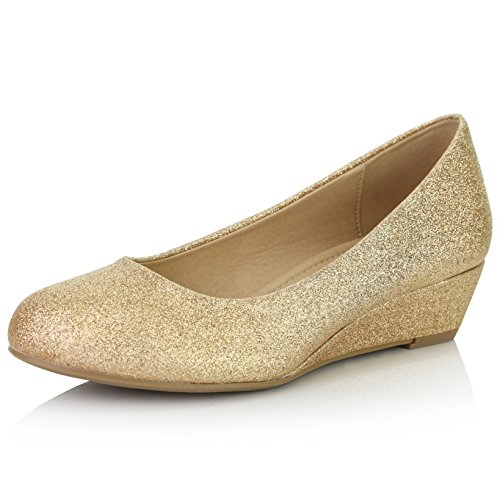 DailyShoes Women's Comfortable Fashion Low Heels Round Toe Wedge Pumps Shoes, Gold Glitter, 11 B(M) US