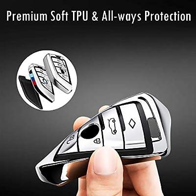 Intermerge for BMW Key Fob Cover,Blade Shape Soft TPU Key Case Shell Pouch for BMW New BMW X1 X3 X5 X6,BMW Series 1 2 5 7 Keyless Entry BMW Key Cover_Blue: Automotive