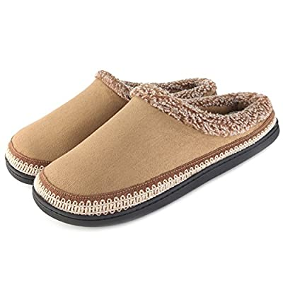 ULTRAIDEAS Women's Cozy Memory Foam Moccasin Suede Slippers with Fuzzy Plush Faux Fur Lining, Ladies' Slip on Mules Clogs House Shoes with Indoor Outdoor Anti-Skid Rubber Sole
