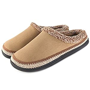 ULTRAIDEAS Women's Comfort Faux Fur Lined Micro Suede Memory Foam Slippers Non Skid House Shoes