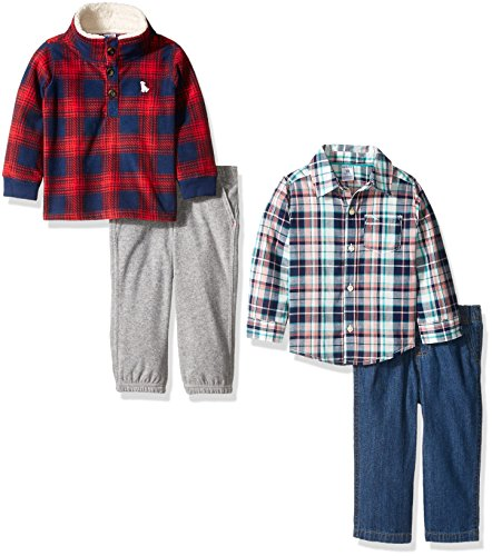 Carter's Boys' 4-Piece Buttondown Shirt, and Pant Set, Plaid/Red, 12 Months