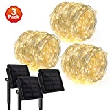[3 Pack] Upgraded Rophie 200 LEDs Solar String Lights 72 ft/22m Solar Powered Garden Lights Copper Wire Outdoor Waterproof String Lights Warm White Indoor/Outdoor Decorative Lights for Party