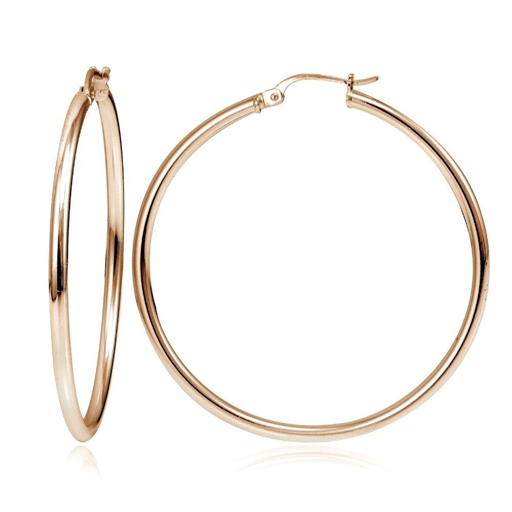 Hoops & Loops Flash Plated Rose Gold Sterling Silver 2mm High Polished Round Hoop Earrings, 45mm
