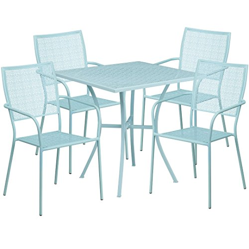 MFO 28'' Square Sky Blue Indoor-Outdoor Steel Patio Table Set with 4 Square Back Chairs