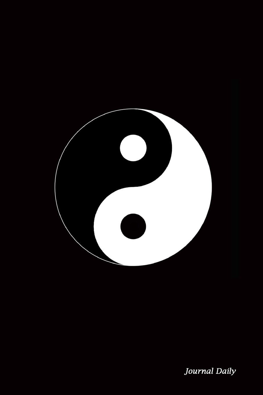 Journal Daily: Yin Yang Symbol, Black Background, Lined