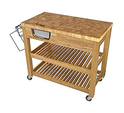 Wood & Style Furniture Chef Kitchen Food Prep Island, Natural Home Office Commerial Heavy Duty Strong Décor