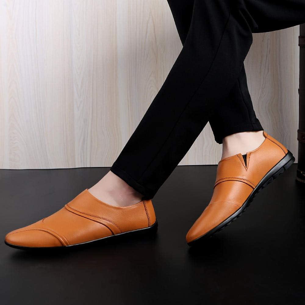 WFQGZ Chaussures Décontractées pour Hommes en Cuir Souple Chaussures Décontractées Chaussures De Conduite Chaussures Plates pour Hommes brown