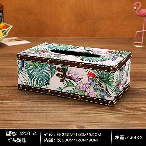 T-ZJHC Round Household roll Paper Tube Living Room Desktop Bathroom Tissue Box Waterproof Tray, Treasure Blue Long - red Head Parrot (Parrot Head Paper)