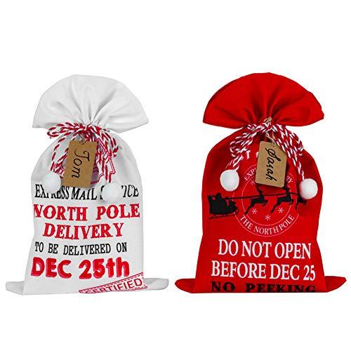 Drawstring Christmas Gift Bag - 19x12 Inch Santas Bag, 2 Pack Xykeey Xmas Gift Bag, Santa Sack with Express Delivery Design