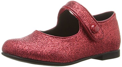 [Rachel Shoes Girls' Lil Halle Mary Jane, Red Glitter, 5 M US Toddler] (Toddler Red Glitter Shoes)