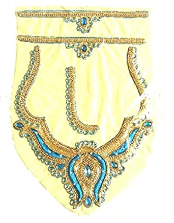 d731df3346e986 UNIQUEMODELARTS Women's Lotus with Kundan Work Patch for Blouse Neck Hands  and Front Design (UMA1800012