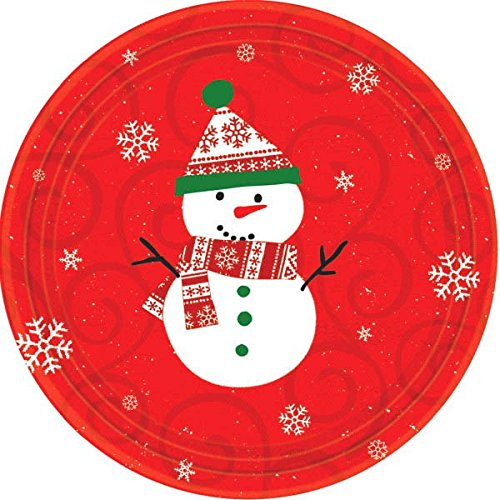 Very Merry Snowman Paper Lunch Plates Christmas Party Disposable Tableware (10 Pieces) Red 9 .  sc 1 st  Amazon.com & Children Christmas Plates: Amazon.com