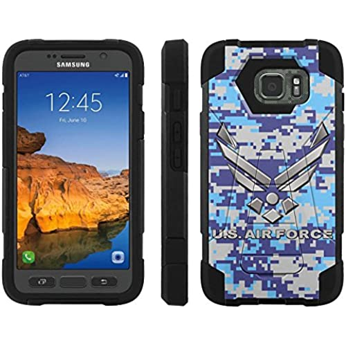 AT&T [Galaxy S7 Active] ShockProof Case [ArmorXtreme] [Black/Black] Hybrid Defender [Kickstand] - [US Air Force Sales