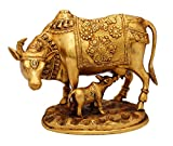 """Cow and Calf Set - Nandi Idol - Golden Color - Brass Idol - Antique Décor - 7"""""""