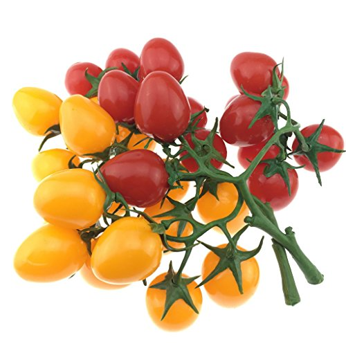 Gresorth 2 Pack Artificial Red & Yellow Cherry Tomatoes Decoration Fake Tomato for Home Kitchen Party -