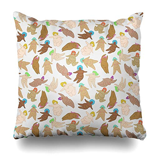 Ahawoso Throw Pillow Cover Square 16x16 Inches Naked Fat Ladies Decorative Pillow Case Home Decor Pillowcase -