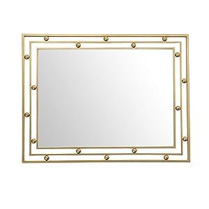 LIHY Miroir de Maquillage- Miroir de Mur de Salle de Bains, Miroir décoratif de Note de Salle de Bains rectangulaire d'or