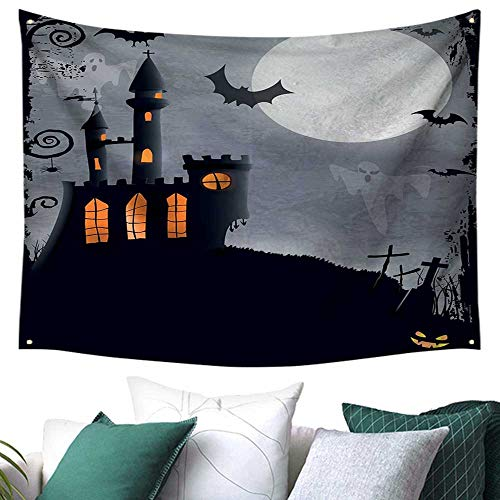 WilliamsDecor Vintage Halloween Tapestry for Bedroom Halloween Themed Asymmetric Caste with Scary Bats and Ghosts Full Moon Restaurant/Shop Decoration 91W x 60L Inch Black -