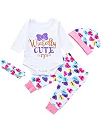 8aa0f5126811 Infant Baby Boy Girl Clothes Letter Print Bodysuit Romper Arrow Pants Hat  Headband Autumn Winter Outfits