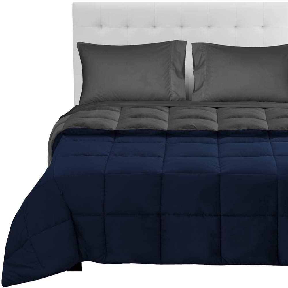 Bare Home 4-Piece Reversible Bed-In-A-Bag - Twin XL (Comforter: Dark Blue/Grey, Sheet Set: Dark Blue)
