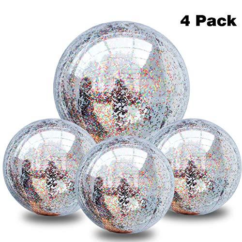 UDYR 4 Pieces Glitter Beach Ball Confetti Beach Ball Inflated Party Ball for Summer Beach Favor (16 Inch-3 Pieces, 24 Inch-1 Piece) -