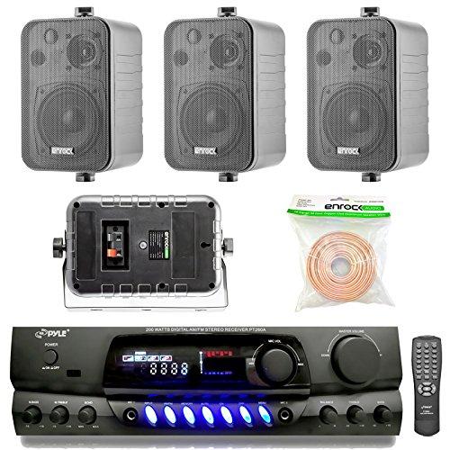 (Pyle PT260A 200-Watt 2-Channel Digital AM/FM Radio Stereo Amplifier Receiver, Bundle Combo With 4x Enrock EKMR408B 4