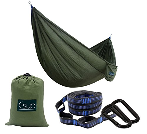 Esup Camping Hammock -Multifunctional Lightweight Nylon Portable Hammock, Best Parachute Hammock for Backpacking, Camping, Travel(Army Green, 108