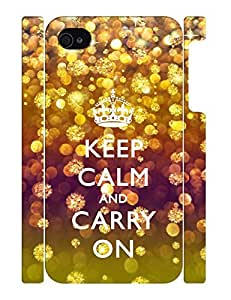 Fantastic Collection Mobile Phone Case With Keep Calm And Crown And Glitter Snowflake Design Drop Proof Case Cover for Iphone 4 4s