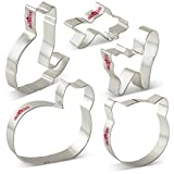 LILIAO Cat Cookie Cutters Set for Kids - 5 Piece - Cat Face, Sitting Cat, Curled Cat, Frightened Cat (Halloween Cat) and Goldfish Cutter - Stainless Steel