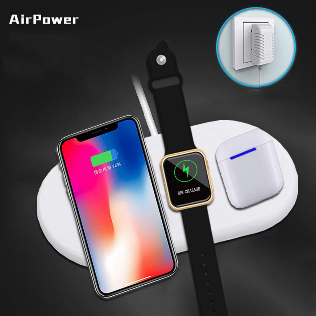 Wireless Charging Pad, 3 in 1 Airpower Wireless Charger Pad Qi Wireless Charger Holder for Apple Airpods 2th for Apple Watch for iPhone by Sunshinehomely (Image #4)