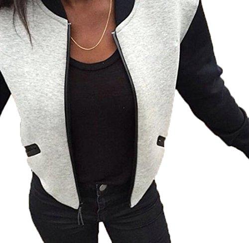 Monika Femme Automne Mode Bomber Aviateur Classique Manteaux Manche Longue Zippe Baseball Jacket Coat Court Outerwear Gris