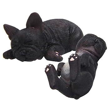 2pcs Miniatur Französische Bulldogge Dekofigur Hundfigur Tierfigur