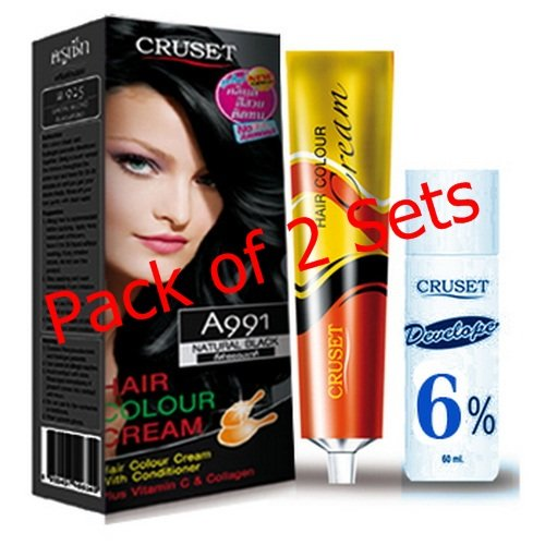Pack of 2 Sets Curset A991 Natural Black Hair Color Cream Dye Free Shipping with Register Fashion Unisex