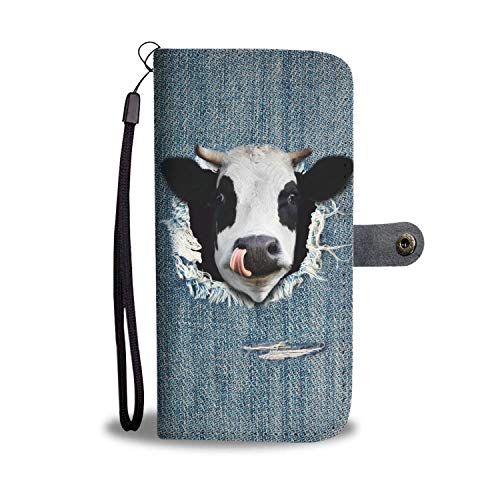 barn smile Samsung Wallet Case Lightweight Built in Credit Card Slot Protective Carrying Case with Strap - Cow Fake Jean Funny