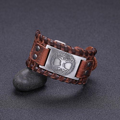 Vintage Amulette nordique arbre de la vie viking Yggdrasil Bracelet en cuir brun avec noeud celtique en m/étal pour hommes