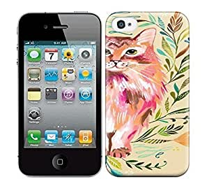 Best Power(Tm) HD Colorful Painted Watercolor Prairie Cat Hard Phone Case For Iphone 4/4S