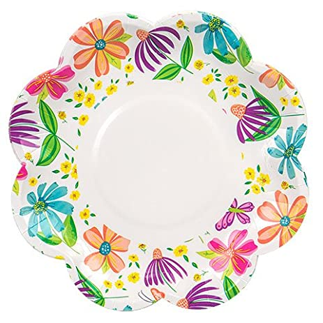 Spring Fling Flower-Shaped Die-Cut Paper Party Plates 14 Count (Colorful  sc 1 st  Amazon.com & Amazon.com: Spring Fling Flower-Shaped Die-Cut Paper Party Plates ...